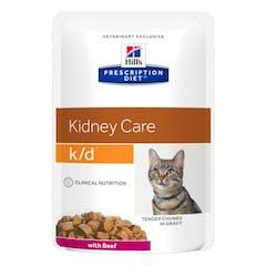 Hill's Prescription Diet K/D – Kattenvoer met Rund – Maaltijdzakjes 12x85g