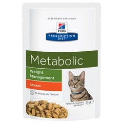 Hill's Prescription Diet Metabolic Maaltijdzakjes – Kattenvoer met Kip – 12x85g