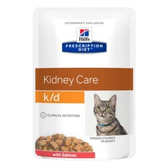 Hill's Prescription Diet K/D – Kattenvoer met Zalm – Maaltijdzakjes 12x85g