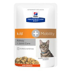Hill's Prescription Diet K/D + Mobility – Kattenvoer met Kip – 12x85g