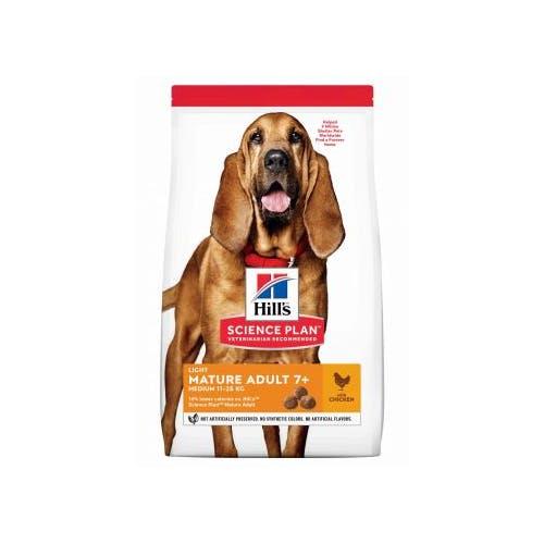 Hill's Science Plan Mature Adult Light croquettes pour chien agé medium au poulet 14Kg