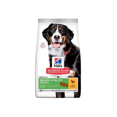 Hill's Science Plan Senior Vitality croquettes pour grand chien âgé au Poulet et au Riz 14Kg